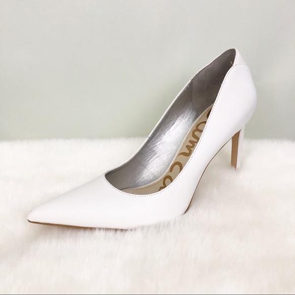Sam Edelman Shoes   White Leather Heels